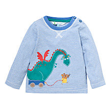Buy John Lewis Mouse & Dragon Stripe Long Sleeve Top, Blue/Multi Online at johnlewis.com
