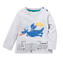 Buy John Lewis Flying Dragon Long Sleeve Top, Grey/Multi Online at johnlewis.com