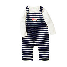 Buy John Lewis Stripe Dungaree & Jersey Set, Navy/Cream Online at johnlewis.com