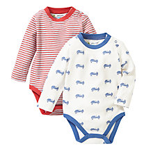 Buy John Lewis Stripe & Race Cart Bodysuit, Pack of 2, Multi Online at johnlewis.com