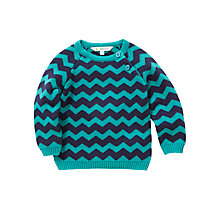 Buy John Lewis Chevron Stripe Knit Button Jumper, Blue Online at johnlewis.com