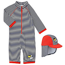 Buy John Lewis Pelican All In One Stripe Rash Vest Swimsuit, Blue/Red Online at johnlewis.com