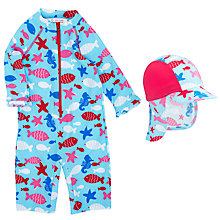 Buy John Lewis Sea Life Sunproof Swimsuit & Hat, Blue/Red Online at johnlewis.com