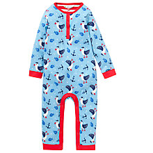 Buy John Lewis Seagull Sailor Print Onesie, Blue/Red Online at johnlewis.com