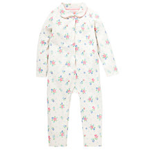 Buy John Lewis Jersey Collar Floral Romper, Cream Online at johnlewis.com