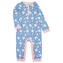 Buy John Lewis Floral Dove Print Romper, Blue/Pink Online at johnlewis.com