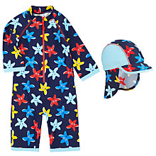 Buy John Lewis Baby's Starfish Sunproof Rash Vest Swimsuit & Sun Hat, Navy/Multi Online at johnlewis.com