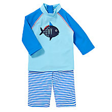 Buy John Lewis Baby's Fish & Stripe Rash Vest & Shorts Swimwear Set, Blue Online at johnlewis.com