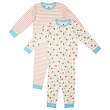 Buy John Lewis Antique Floral Pyjamas, Pack of 2, Cream/Multi Online at johnlewis.com