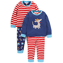 Buy John Lewis Dog and Train Pyjamas, Pack of 2, Blue/Red Online at johnlewis.com