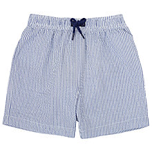 Buy John Lewis Stripe Seersucker Swim Shorts, Blue/White Online at johnlewis.com