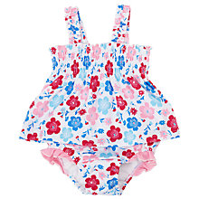 Buy John Lewis Poppy Frill Sunproof Swimsuit, White/Multi Online at johnlewis.com