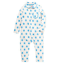 Buy John Lewis Star Print Button Romper, White/Blue Online at johnlewis.com