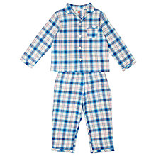 Buy John Lewis Woven Check Pyjamas, Blue/White Online at johnlewis.com
