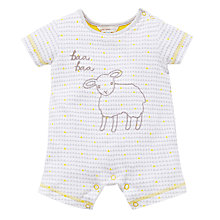 Buy John Lewis Baby Baa Baa Sheep Short Romper, Grey Online at johnlewis.com
