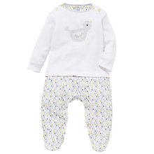 Buy John Lewis Baby Birdy Pattern Print Long Sleeve Sleepsuit, White/Multi Online at johnlewis.com