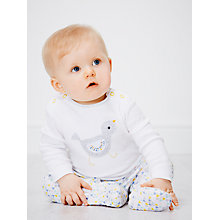 Buy John Lewis Birdy Pattern Print Long Sleeve Sleepsuit, White/Multi Online at johnlewis.com