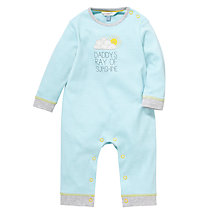 Buy John Lewis Baby 'Daddy's Ray of Sunshine' Footless Sleepsuit, Turquiose Online at johnlewis.com