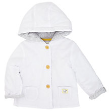 Buy John Lewis Baby Textured Hooded Jacket, White Online at johnlewis.com