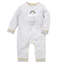 Buy John Lewis Baby 'I Love Mummy' Footless Sleepsuit, Grey Online at johnlewis.com