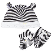Buy John Lewis Baby's Sheep Stripe Booties & Hat, Black/White Online at johnlewis.com