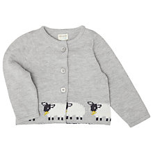 Buy John Lewis Baby's Knit Sheep Cardigan, Grey Online at johnlewis.com