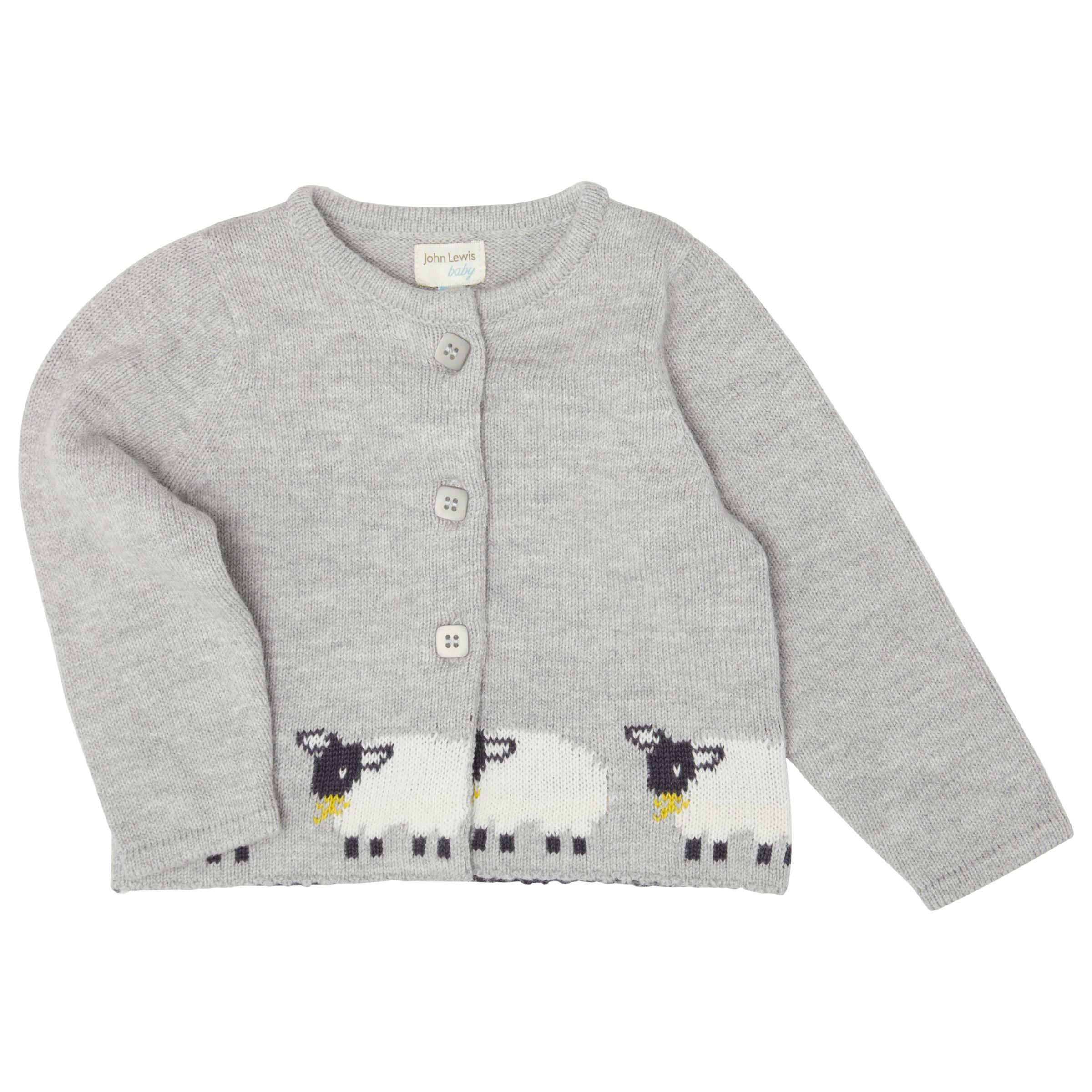 Buy John Lewis Babys Knit Sheep Cardigan, Grey John Lewis
