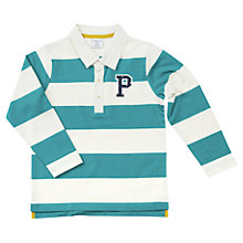 Buy Polarn O. Pyret Baby's Stripe Polo Top, Blue/White Online at johnlewis.com
