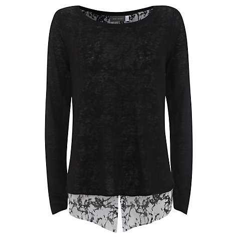 Buy Mint Velvet Shirt Tail Top, Black Online at johnlewis.com