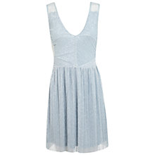 Buy Miss Selfridge Metallic Plissé Dress, Pale Blue Online at johnlewis.com