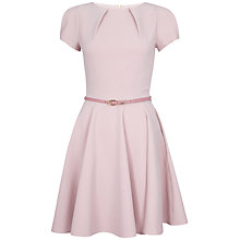 Buy Closet Flared Belt Dress, Dusky Pink Online at johnlewis.com