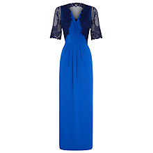 Buy Alexon Maxi Lace Trim Jersey Dress with Lace Bolero, Blue/Multi Online at johnlewis.com