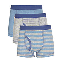 Buy John Lewis Boy Spots and Stripes Trunks, Pack of 3, Grey Marl Online at johnlewis.com