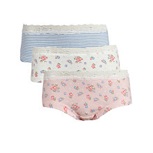 Buy John Lewis Girl Vintage Floral Stripe Shorties, Pack of 3, Multi Online at johnlewis.com