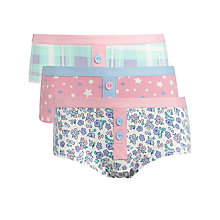 Buy John Lewis Girl Patterned Hipster Pants, Pack of 3, Multi Online at johnlewis.com