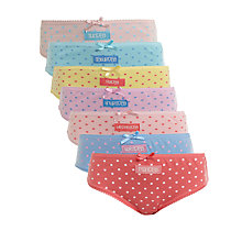 Buy John Lewis Girl Days of the Week Briefs, Pack of 7 Online at johnlewis.com