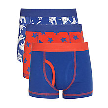 Buy John Lewis Boy Tiger Trunks, Pack of 3, Blue/Red Online at johnlewis.com