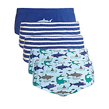 Buy John Lewis Boy Shark Briefs, Pack of 5, Blue Online at johnlewis.com