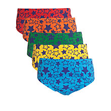 Buy John Lewis Boy Star Briefs, Pack of 5, Multi Online at johnlewis.com