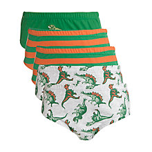 Buy John Lewis Boy Green Dinosaur Briefs, Pack of 5, Green/Orange Online at johnlewis.com
