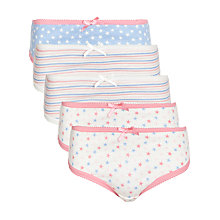 Buy John Lewis Girl Star and Stripe Brief, Pack of 5, Multi Online at johnlewis.com