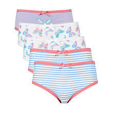 Buy John Lewis Girl Mixed Print Briefs, Pack of 5, Multi Online at johnlewis.com