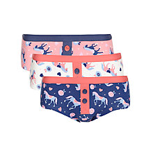 Buy John Lewis Girl Horse Print Shortie Knickers, Pack of 3, Blue/Coral Online at johnlewis.com