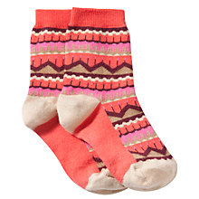 Buy Donna Wilson for John Lewis Girls' Fairisle Socks, Coral Online at johnlewis.com