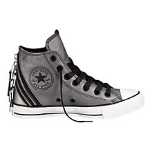 Buy Converse Chuck Taylor All Stars Tri-Zip Detail Leather Trainers, Silver Online at johnlewis.com