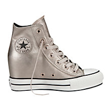 Buy Converse Chuck Taylor All Star Leather Hi-Top Trainers With Platform, Silver Online at johnlewis.com