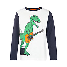 Buy John Lewis Boy Rocking Dinosaur Long Sleeve T-Shirt, White/Blue Online at johnlewis.com