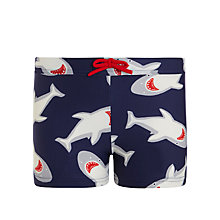 Buy John Lewis Boy Shark Trunks, Navy Online at johnlewis.com