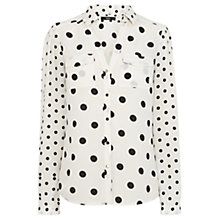 Buy Oasis Spot Patched Print Shirt, White/Black Online at johnlewis.com