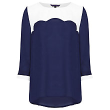 Buy Sugarhill Boutique Scallop Top, Navy/Cream Online at johnlewis.com